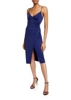 Black Halo Bowery V-Neck Sleeveless Jersey Sheath Dress with Slit