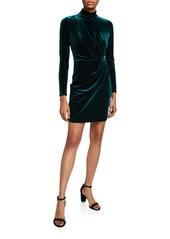 Black Halo Briar Velvet Long-Sleeve Mini Dress