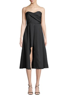 Black Halo Caine Strapless A-Line Cocktail Dress w/ Front Slit