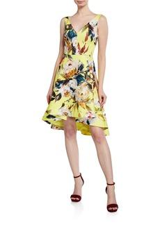 Black Halo Dene Floral-Print High-Low Cocktail Dress