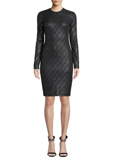 Black Halo Desoto Long-Sleeve Dotted Dress