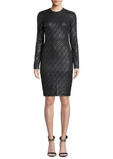 Black Halo Desoto Long-Sleeve Dotted Dress