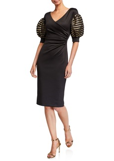 Black Halo Elora Puff-Sleeve Sheath Cocktail Dress