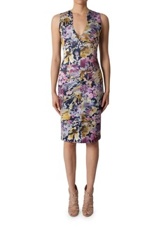 Black Halo Floral-Print Sheath Dress