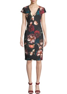 Black Halo Greyson Floral-Print Short-Sleeve Sheath Dress