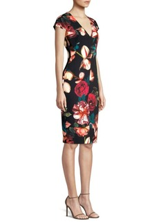 Black Halo Greyson Floral Sheath Dress