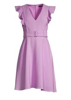 Black Halo Hailey V-Neck Belted Dress