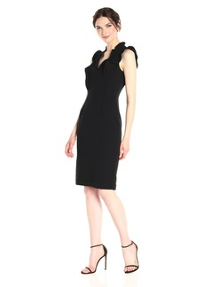 Black Halo Halo Women's Brindey Ruffle Neck Sheath Dress