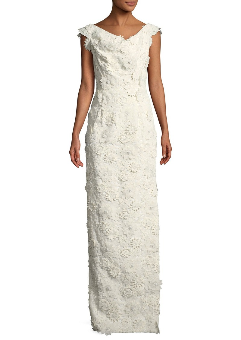 Black Halo Jackie Anniversary Floral Lace Column Gown  White
