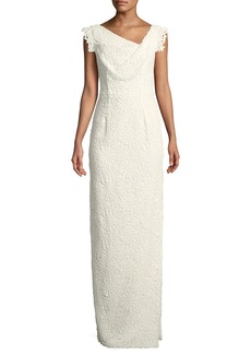 Black Halo Jackie Anniversary Lace Column Gown  White