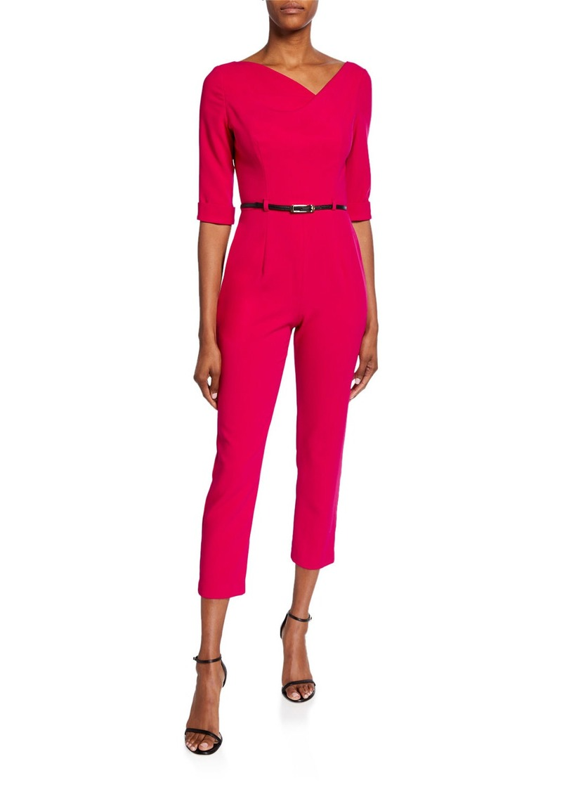 Black Halo Jackie Asymmetric Half-Sleeve Straight-Leg Belted Crop Jumpsuit