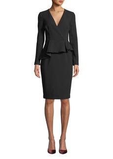 Black Halo Jacquelyn Peplum Long-Sleeve Dress