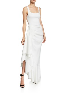 Black Halo Jewel Sleeveless Asymmetric Ruffle-Hem Gown