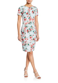 Black Halo Jodee Floral-Print Short-Sleeve Sheath Dress