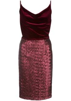 Black Halo Julissa velvet-panel midi dress
