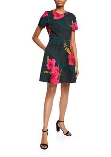 Black Halo Kaitlyn Floral-Print Short-Sleeve Dress