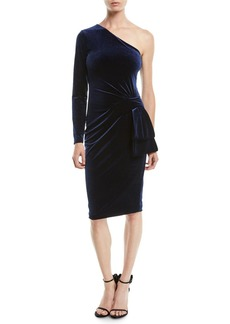 Black Halo Karmina Asymmetric Dress in Velvet