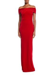 Black Halo Liliana Off-the-Shoulder Velvet Gown
