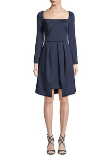 Black Halo Lovelei Square-Neck Long-Sleeve Dress