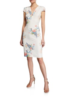 Black Halo Maisie Floral-Print V-Neck Cap-Sleeve Sheath Dress