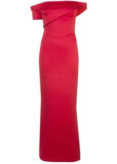 Black Halo Molten bardot gown