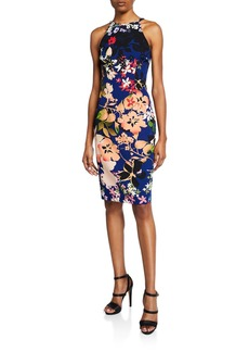 Black Halo Montego Floral-Print Sleeveless Sheath Dress