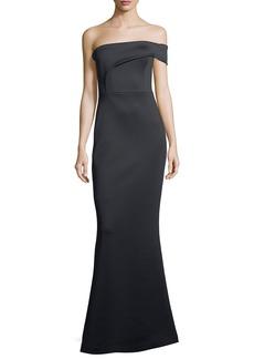 Black Halo neoprene gown one shoulder