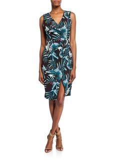 Black Halo Nora Leaf-Print Faux-Wrap V-Neck Sleeveless Sheath Dress
