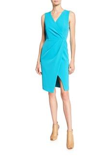 Black Halo Nora V-Neck Sleeveless Faux-Wrap Sheath Dress