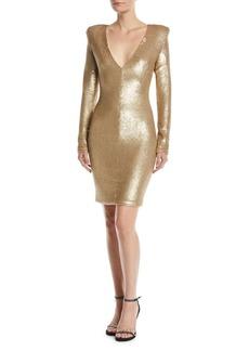 Black Halo Poppy Long-Sleeve Sequin Sheath Dress