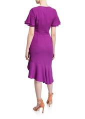 Black Halo Ruiz Jewel-Neck Short-Sleeve Ruffle-Hem Godet Dress