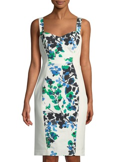 Black Halo Sadie Floral-Paneled Bustier Dress  Blue