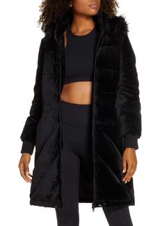 Blanc Noir Alexandra Velvet Down Jacket with Faux Fur Trim