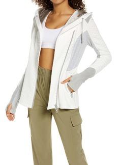 Blanc Noir Croc Jacquard Mixed Knit Hooded Track Jacket