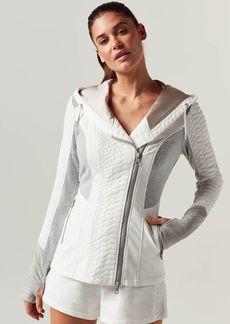 Blanc Noir Croc Textured Mixed Media Jacket