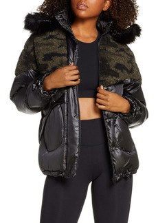 Blanc Noir Faux Shearling Puffer Jacket with Faux Fur Trim