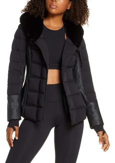 Blanc Noir Hooded Moto Puffer Jacket with Faux Fur Trim