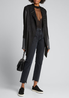Blanc Noir Kylie Iridescent Patent Hooded Jacket