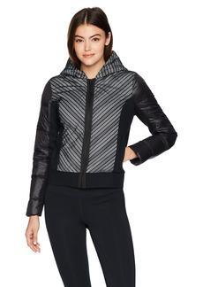 Blanc Noir Women's Chevron Mesh Reflective Hooded Bomber Jacket  L