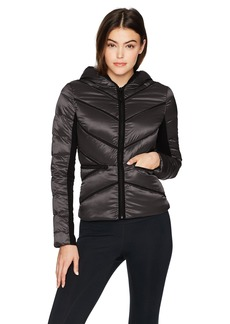 Blanc Noir Women's Mesh Inset Irredescent Hooded Puffer Jacket  L
