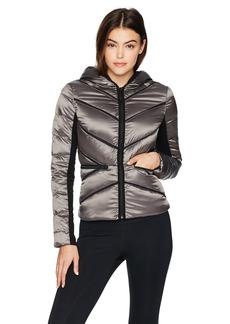 Blanc Noir Women's Mesh Inset Irredescent Hooded Puffer Jacket  M