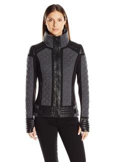 Blanc Noir Women's Mesh Inset Moto Puffer Jacket  XS