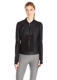 Blanc Noir Women's Run Moto Bomber Jacket  L