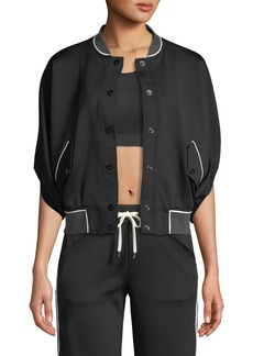 Blanc Noir Butterfly Snap-Front Short-Sleeve Bomber Jacket