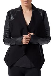Blanc Noir Drape-Front Contrast Jacket