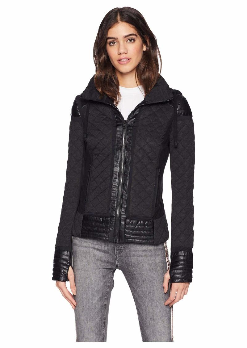 664fb721ddd0 Blanc Noir Hooded Mesh Inset Moto Jacket