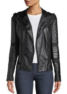 Blanc Noir Voyage Hooded Diamond-Stitch Lace-Up Leather Moto Jacket
