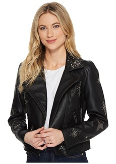 Blank Beaded Vegan Leather Cropped Jacket in Star Struck