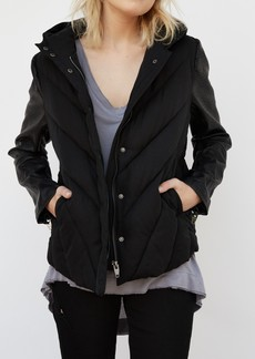 Blank Bed Fellows Faux Leather Sleeves Puffer Jacket