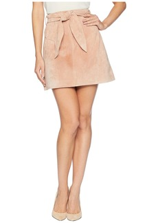Blank Belted Pink Suede Skirt in Candy Crush